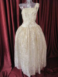 1950's Soft gold brocade organza vintage wedding gown